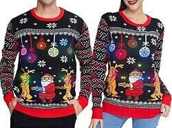 Lustiger Pärchen Pullover Weihnachtsmann